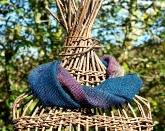 Sunrise cowl handwoven in turquoise, midnight, pink and yellow alpaca