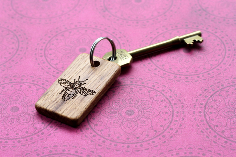 Bee wood Key chain. Handmade laser engraved wood gift. Custom   Etsy