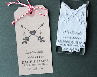 Save The Date rubber stamp. Wedding. Personalised. DIY