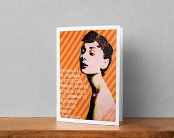Audrey Hepburn Contemporary Fine-Art Blank Greeting Card