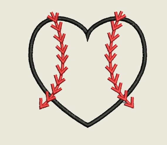3 Sizes Baseball Heart Applique Embroidery Design Baseball Etsy