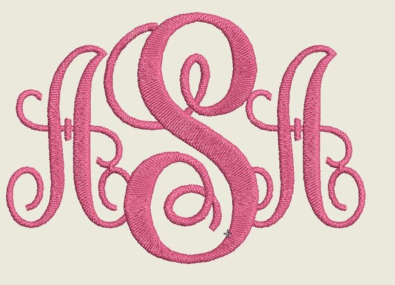 monogram embroidery design 3 letters monogram monogram