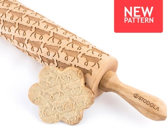 Goat - Embossed, engraved rolling pin for cookies