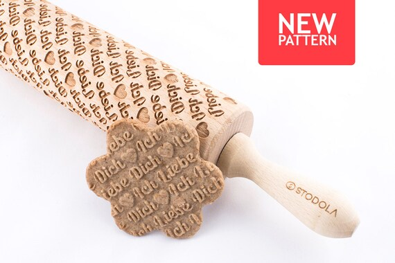 Ich liebe dich - Embossed, engraved rolling pin for cookies