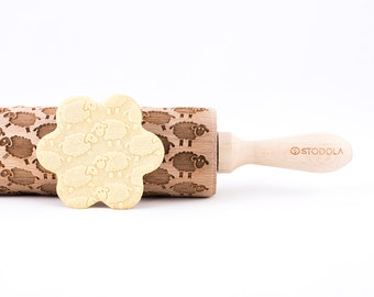 SHEEP - Embossed, engraved rolling pin for cookies