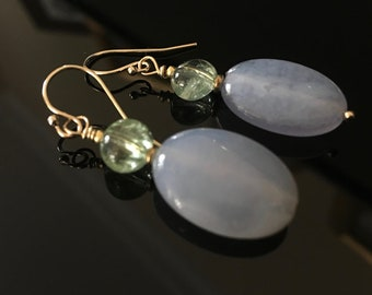 Earrings in Chalcedony with green Tourmalines