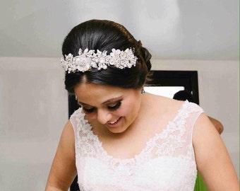 Bridal crown, swarovski crystal wedding crown, crystal wedding tiara, bridal tiara, corona, pearl wedding crown, bridal headpiece, vintage