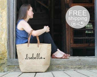 Personalized Bridesmaid Gift   Rustic Bridesmaid Tote   Monogrammed Hand Bags for Bridesmaids   Overnight Shoulder Bag for Bridesmaids