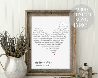 Wedding Gift, One Year Anniversary Gift, First Dance Love Song Lyrics, Personalized Wedding 1st Anniversary Gifts, Mother Day Wife Gift Idea