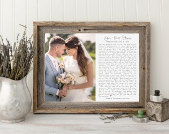Framed Wedding Song Lyrics, Your Wedding Song, Wedding Vows Couples Song, Anniversary Gift, Couples Gift, First Song Sign, Wedding