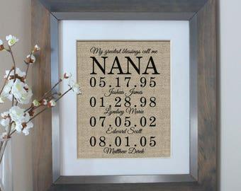 personalized nana gift christmas gift for nana my greatest blessings call me nana grandchildren name wall art nana gift grandma gift