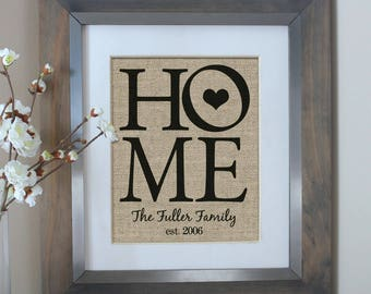 HOME Decor Personalized Burlap Print   Housewarming Gift   Family Name Sign    New Home Housewarming Gift   Personalized Home Decor