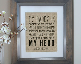 First Christmas Gift for Dad, Fathers Day Gift from Son, Unique Gift from Baby, Dad Is My Hero, Superhero Print for Dad, Unique Gifts Dad