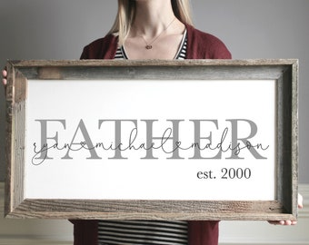 Father's Day Gift, Rustic Wood Grandpa Sign, Family Wall Sign, Family Sign Gift Idea, Grandpa Gift From Kids