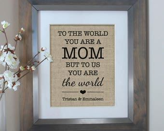 Personalized Gift for MOM   Gift for Mom from Daughter   Mothers Day   To the World You Are a MOM   Mom Birthday Gift   Mothers Day Gift