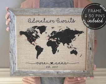 Christmas Gift Adventure Awaits Push Pin Map, Wife to Husband Gift, Adventure, Gifts for Husband, Personalized Gift, Husband to Wife Gift