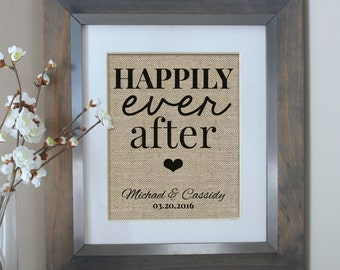 Happily Ever After Burlap Print | Personalized Wedding Gift for Couple | Personalized Bridal Shower Gift | Wedding Gifts | Bridal Shower