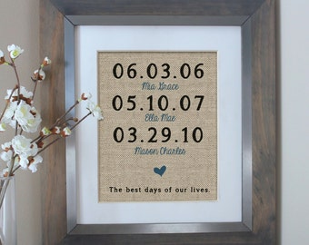 The Best Days of Our Lives Burlap Print | Father's Day Gift | Childrens Birth Dates | Personalized Family Name Sign | Anniversary Gift
