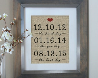 Personalized Wedding Gift, Guest Book, Anniversary Gift, Bridal Shower Gifts, Burlap Art Print Wedding Sign Anniversary Gift for Her
