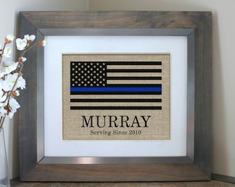 Thin Blue Line Flag | Personalized Police Officer Gift | Policeman Gift | Police Retirement Gift | Police Gifts | Wedding Gift | Fathers Day