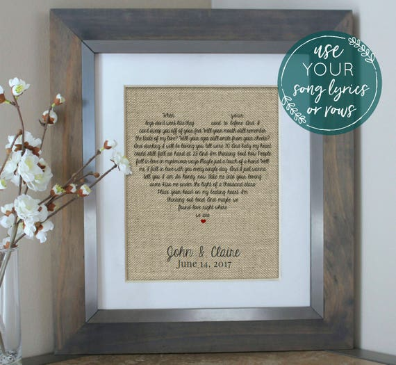 Wedding Gift Song Lyrics Unique Wedding Gift For Couple Etsy