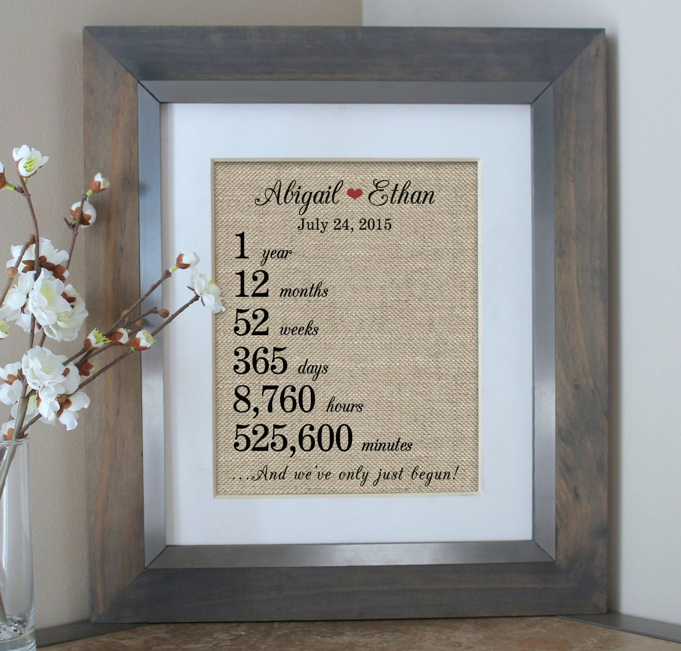 Gift For First Wedding Anniversary To Wife: 1 Year Together 1st First Anniversary Gift Burlap Wife
