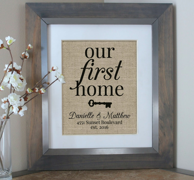 Housewarming Gift Burlap Print Our First Home House Warming image 0