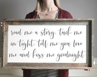 Read Me A Story Tuck Me In Tight Sign, Nursery Decor, Nursery Wall Art, Farmhouse Sign, Framed Wood Sign, Kids Room Wall Art, Kid Room Decor
