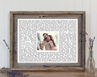 Father's Day Gift Father of the Bride Gift Framed Song Lyrics Art Wedding Gifts for Parents from Daughter Gift from Bride Song Lyric Wedding