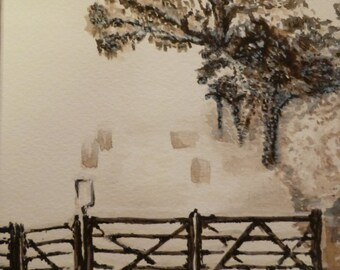 Original watercolour, Snow at Whitnage, Devon