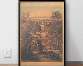 Mexico book cover, Bronze, Gold, Original Art Print, Poster Wall Art, High Quality Print, Wall Decor