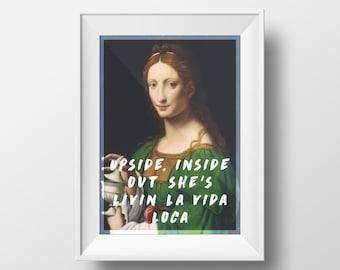 Leonardo Da Vinci, Ricky Martin, Livin la vida loca, Song Quote Poster, Original Art Print, Poster Wall Art, High Quality Print, Wall Decor
