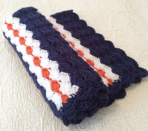 Crochet Baby Blanket White Orange and Blue