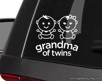 Grandma of Twins White Vinyl Car Decal, Twin Girls, Twin Boys, Boy Girl Twins, Baby Version, Twin Car Decal, Twin Grandma