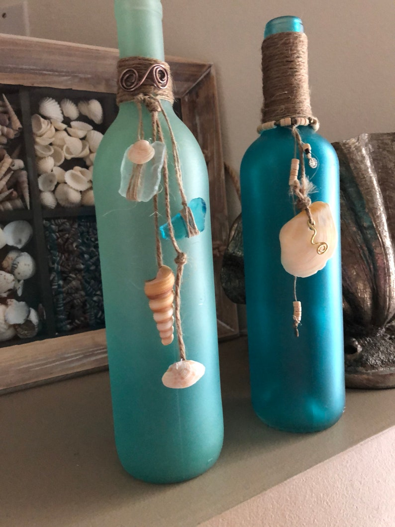 Sea Glass Painted Wine Bottle Candle SOLD