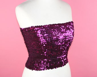 967919c4c5 Stunning ViNtAgE 70s 80s Sequin Tube Top Uk 8 Us 4 1970s Stretch Disco GLAM  Purple Boob Tube