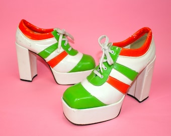 0b83ca674f9 RARE ViNtAgE 70s Shoes Uk 7 Platforms BRIGHT Patent Glam Rock Sky High