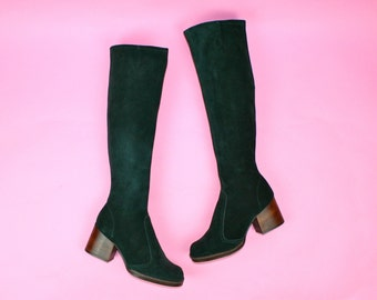 127313afd5 INCREDIBLE Vintage 70s Suede Boots Bottle Green UK 3 Knee High Iconic  Leather Long