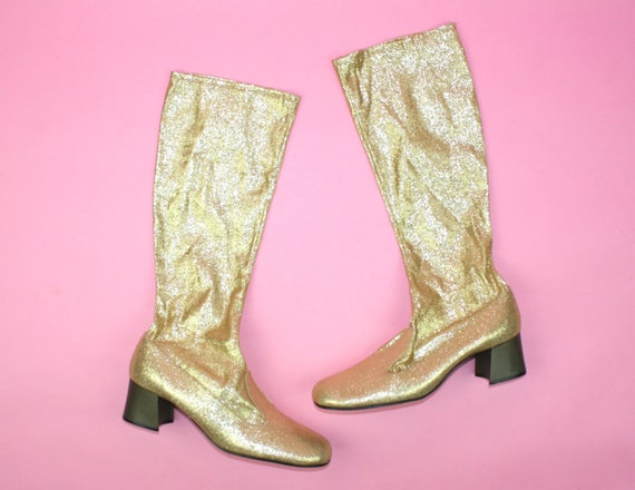 Vintage 60s GOLD Lamé Boots Go Go UK 5 6 Sixties I