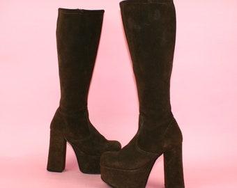 ICONIC Vintage 90s does 70s Mega Platform Boots Brown Suede Uk 3 3.5 Us 5 5.5 Eu 36 36.5