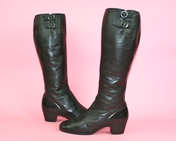 Vintage 60s Black Leather Boots Go Go UK 4 Sixties