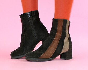 Groovy ViNtAgE 90s does 60s 70s Suede Ankle Boots UK 4 US 6 EU 37 Ankle Suede Groovy Y2k