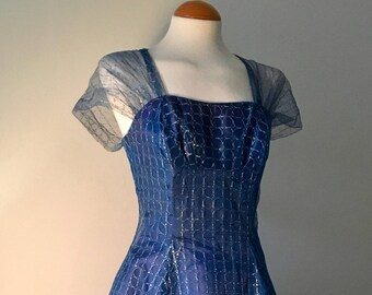 Vintage 1950s Net and Taffeta Dress Prom Party Cocktail