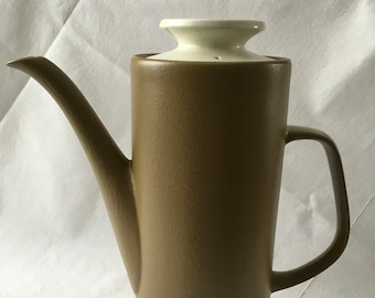Vintage Early 1970s J&G Meakin Maidstone Olive Green and Cream Coffee Pot Retro Mid Century Ceramic