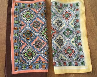Set of 2 1940s Vintage Printed Hankies Acetate/Rayon Handkerchiefs Feels like Silk