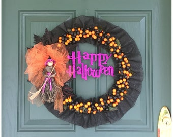 Halloween Wreath. Witch Decor. Unique Halloween Decor. Black and Orange Decor. Halloween Party Decorations. Happy Halloween. Halloween Door