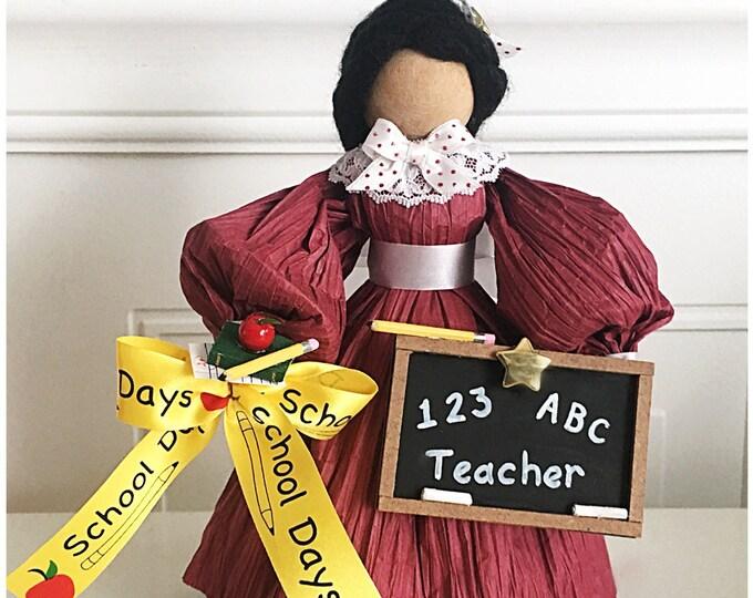 Handmade Teacher Doll. Unique Teacher Gifts. Handmade Thank You Gift. Corn Husk Dolls. Gifts for Teachers. Blackboards. Apple For Teacher