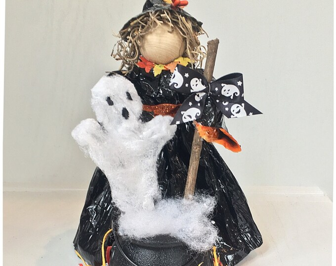 Halloween Witch Doll. Handmade Halloween Decor. Halloween Decoration. Halloween Party. Witch's Cauldron. Handmade Witch Doll.  Pumpkin Decor