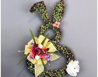 Unique Bunny Hanging. Spring Door Wreath. Easter Door Wreath. Bunny Wall Hanging. Front Door Wreath. Bunny Rbbit Decor. Unique Easter Decor