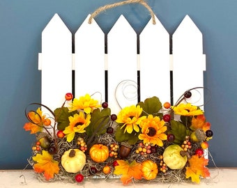 Fall Gate Wall Hanging. Thanksgiving Garden Gate Decor. Autumnal Scene. Pumpkin Decor. Sunflower Wall Hanging.  Autumn Fall Leaves.